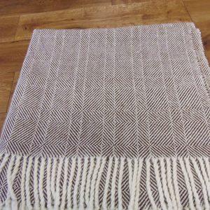100% Alpaca dark Brown & white   hand woven throw