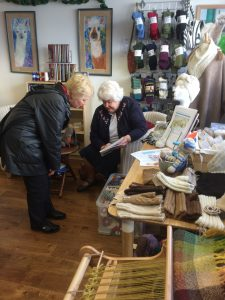Val Pierce talking to one of our customers on Yarn Shop Day